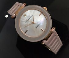 Ladies Genuine Anne Klein Ceramic Pink Designer Dress Watch Mop Diamond Dial