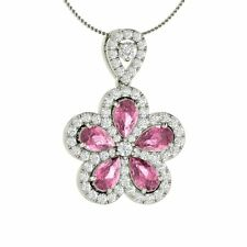 Natural Pink Sapphire & Diamond Flower Pendant / Necklace in White Gold- 1.97 Ct