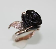 Gorgeous 14k White Gold Coctail Ring Carved Black Jet Rose Flower size  7