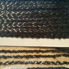 Narrow  black sequin wool braid trimming