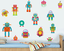 Childrens Robots - Pack of 14 Wall Art Vinyl Stickers Boys Girls Peel & Stick