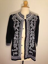 Vtg 70s Leandra Black White Embroidered Button Front Tunic Blouse Jacket Boho M
