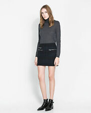 NWT ZARA MINI SKIRT WITH ZIPS SIZE L (Very Popular)