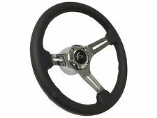 1969 - 1989 6 Bolt Black Leather Steering Wheel Kit w/ Red Chevy Bow Tie Emblem
