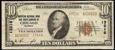 1929 $10 Dollar Bill American National Bank & Tc Of Chicago Illinois Ty2 Note Vf