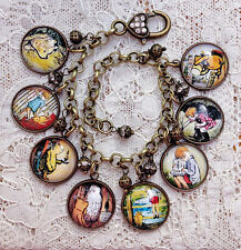 WINNIE THE POOH Altered Art GLASS DOME CHARM BRACELET Handmade VINTAGE IMAGES
