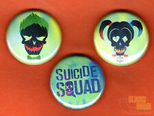 """Set of three 1"""" Suicide Squad pins buttons Joker Harley Quinn movie"""