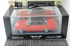 FORD TAUNUS 17M P3 RED 1960 BLACK ROOF 4 DOORS NEO 44556 1/43 ROUGE ROSSO ROT