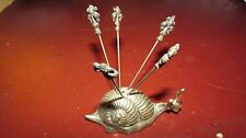 VINTAGE Snail Cocktail Appetizer Picks Holder, Silver, with 5 Picks ITALY