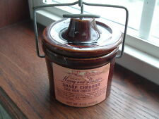 Vintage Harry and David cheese crock brown stoneware with wire ball lid