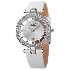 New Women's Burgi BUR104WTS Swiss Quartz Diamond Dial White Satin Strap Watch
