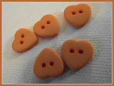 7 BOUTONS COEUR orange 12 mm 1,2 cm  2 trous heart Button sewing lot couture