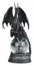 "7.75"" Black Medieval Dragon on Baby Dragon Snow Globe Decorative Statue"