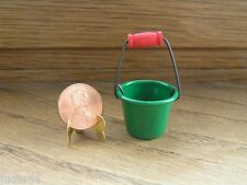 Miniature Dollhouse Metal Green Pail Bucket 366