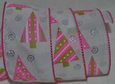 Wired Ribbon~Jazz Christmas Tree~Pink~Green~White~Silver~Wreath~Holiday~Gift~Bow