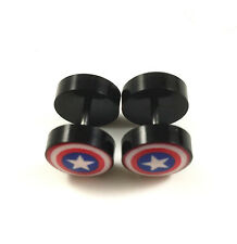 Captain America Superhero Barbell Stainless Steel Stud Earrings Screw Back