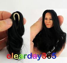 1/6 Female Black Straight Hair Wig centre Parting fit Kumik Girl Head Sculpt