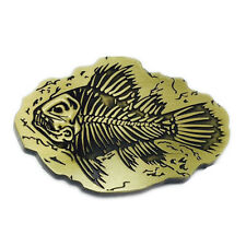 Vintage Pirate Fish Fossil Body Old Bones Belt Buckle Brass Mens Western Cowboy