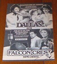 1983 CBS TV AD~FALCON CREST & DALLAS~VICTORIA PRINCIPAL~PATRICK DUFFY