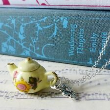 KiTsCh qUiRkY aLiCe TEA YELLOW PINK FLOWER CHINA TEAPOT SILVER CHARM NECKLACE