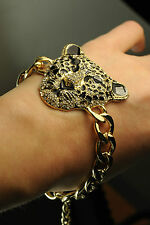 LADIES CHUNKY UNIQUE LEOPARD STATEMENT CHAIN BRACELET DIAMANTÉ BOLD NEW (CL9)