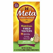 5 Pack - Metamucil MultiGrain Fiber Wafers, Apple Crisp 12 Packets Each