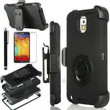BLACK RUGGED HYBRID HARD CASE COVER+CLIP HOLSTER FOR SAMSUNG GALAXY NOTE III 3