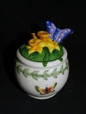 Portmeirion Great Britain Botanical Garden Narcissus Jam Jar w/ Butterfly Spoon