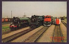 LMH Postcard CANADIAN NATIONAL 4-8-4 CN 6218 TURBO TRAIN CNR ES44DC 2302 4 Locos