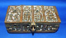 A lovely and unusual Victorian bronze gothic casket with religious scenes