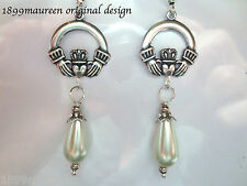 Art Nouveau Art Deco earrings Irish Claddagh Celtic romantic bridal pearl drop