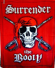 Surrender the Booty Pirates Huge Blanket Towel 54x68 Beach Blanket Pirate