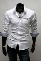 New Mens Smart Fashion Slim Fit Casual Business ESS Shirt-Red