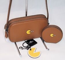 NWT 3 Pc Set Coach PacMan Saddle Leather Crossbody Coin Case Keyring Bag Charm