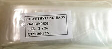 """100 Pieces CLEAR Low Density 2"""" x 24"""" POLY BAGS 2 MIL POLYETHYLENE"""