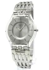 New Swiss Swatch Skin Furious Steel Gray Dial Women Watch 35mm SFK396G $120