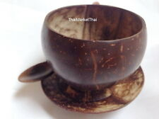 Coconut Shell Cup HandCraft Thai Coffee Drink Cocktail Mug Glass Tea Spoon Plate