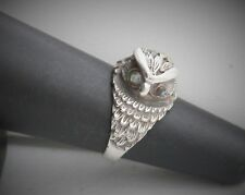 Sterling Silver Owl with Abalone Eyes Band Ring, Size 6