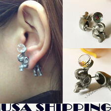One Pair Cool Elephant Puncture Ear Stud Womens Mens Unisex Earring for girl
