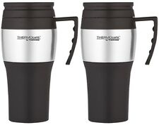 2 X THERMOS THERMOCAFE 2010 STAINLESS STEEL TRAVEL CAR BEAKER CUP MUG WORK 0.4L