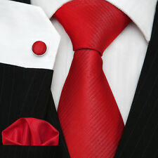 UK Men's Necktie Plain Solid Red Twill Wedding Luxury Silk Tie Set