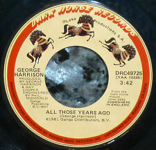 """* * SALE! GEORGE HARRISON's tribute to JOHN LENNON """"ALL THOSE YEARS AGO"""" VG+ 45!"""