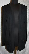 Howard Wolf Black Cardigan M Classic Womens Open Front Woven