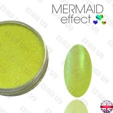 NEON YELLOW MERMAID EFFECT NAIL ART POWDER  GEL HYBRID E. Syrenki FLUO ŻÓŁTY