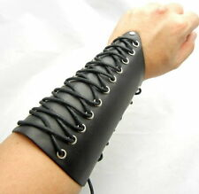 """Tew153- 7"""" Cross Strings Leather Bracer Arm Armor Cuff Gothic Cosplay Punk"""