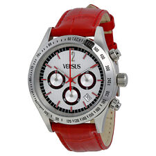 Versus by Versace Cosmopolitan Chronograph Silver and Black Dial Red Leather
