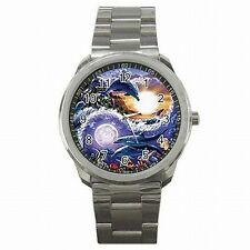 Yin Yang Symbol Dolphin Chinese Taoism Design Stainless Steel Sport Watch New!