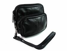 SOFT BLACK LEATHER COIN POUCH PURSE CAMERA WALLET WITH BELT LOOP AND STRAP 1475