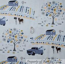 BonEful Fabric FQ Cotton Quilt Blue Farm Barn Flower Tree Donkey Barn Boy Truck