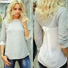 Women Chiffon Patchwork Long Sleeve T-Shirts Ladies Casual Loose Blouse Tops Tee
